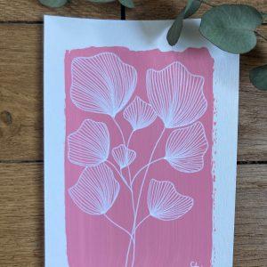 "Planche ""Ginkgo rose"" - 10x15"